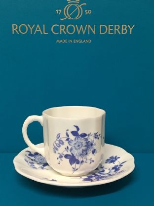 Royal Crown Derby Posie Blue Coffee Cup & Saucer